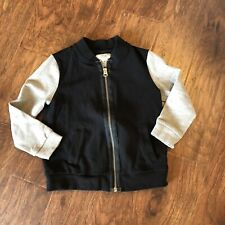 5ace6ce3 Zara Boys Black Gray Zip Up Jacket Bomber Size 6 (I)