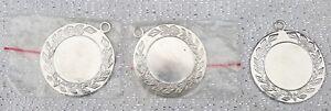 MEDALS 3 x Silver Laurel Leaf Trophy Medals 4 cm Across Lanyard Ring