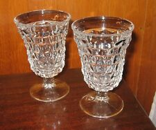 Vintage Fostoria Glass American Cube #2056 Clear Low Water Goblet Set of 4 Mint