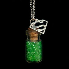 DC comics Superman themed, Kryptonite and s-shield bottle necklace on chain