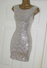 Jane Norman stretchy silver sequin mini bodycon party dress size 12 14