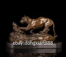 36 CM Western Art Deco Pure Bronze Marble Lion Puma Catch hunt Animal Sculpture