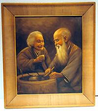 "ARISU BIZAN(B 1937JAPAN)  COUPLE WITH PIPE OIL PAINTING :MEI SUN""GREEN BEACH"