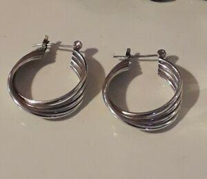 Vintage 22mm Sterling Silver Hoop Earrings - Unusual Multi Tube/Flat Profile.