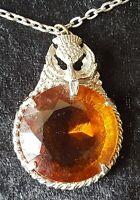 Scottish silver plate orange cairngorm vintage Victorian antique thistle pendant