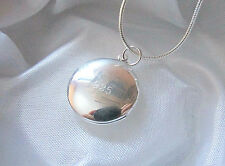 Sterling Silver Smooth Round Locket Photo Pendant Necklace w/ Snake Chain