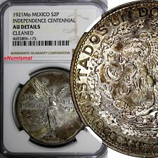 MEXICO Silver 1921 Mo 2 Pesos NGC AU DET. INDEPENDENCE CENTENNIAL TONING KM# 462