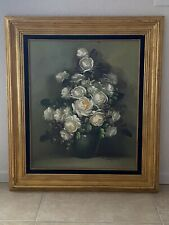 VINTAGE WHITE ROSES ORIGINAL OIL PAINTING IN GOLD FRAME SIGNED SUZANNA 32x28