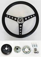 "1967-1968 Buick Skylark Riviera GS Black on Black Spokes Steering Wheel 14 1/2"""