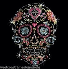 Skull with Heart Rhinestone Iron on Transfer       ZEYD