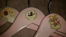 FREE SHIP-Set-3-Vintage Style-Childrens-African American-Baby Girls-Wood-Hangers