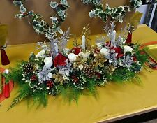Artificial Christmas Table Centre piece Poinsettia Rose Berries Holly Xmas Ivy8