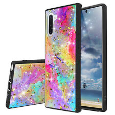 For Samsung Galaxy Note 10/Plus Phone Case Marble Rainbow Glitter Bling TPU