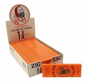 Zig-Zag Orange 1¼ Cigarette Rolling Paper Full Box 24 Booklets Box 32 Leaves