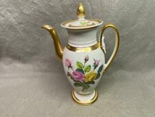 "Vintage Porcelain Old Paris Coffee Pot 12"" Tall Flower Pattern"
