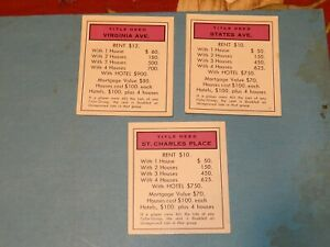 Monopoly title deeds- PURPLE properties- ST CHARLES PL, VIRGINIA, STATES AVE