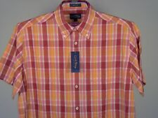 Best Club Room Plaid Short Sleeve SS Shirt Red White Fuchsia Retro L Men New