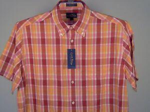 Best Club Room Plaid Short Sleeve SS Shirt Red White Fuchsia Retro L Men New