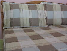 Teens Queen Size Cotton Beige Plaid Fitted Sheet Pillowcase Set Chocolate Check