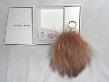 MICHAEL KORS CHARMS FUR LARGE POM BAG CHARM FOB KEY RING HANDBAG NATURAL JEWELRY