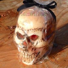 "BLEEDING SKULL CANDLE 4.25"" Halloween decoration bleeds horror bloody wax creepy"