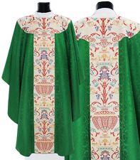 Green Gothic Chasuble with stole GT115-Z25 Verte Casulla Verde Casula Grün Kasel