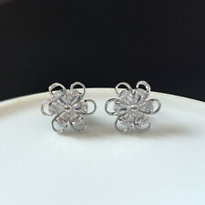 Pear Cut White Cubic Zirconia CZ Flower Stud Earrings Yellow Gold Filled Gift