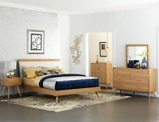 DURANT-Scandinavian Modern 5pcs Brown Queen King Platform Bedroom Set Furniture