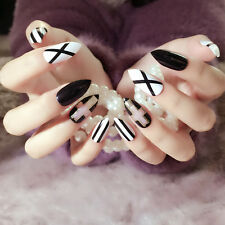 24Pcs Artificial Full Cover Long Stiletto Fake Nail Tips Black White Cross Style