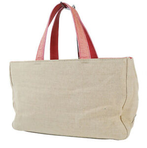 Authentic PRADA Beige Canvas and Pink Leather Tote Hand Bag Purse #40566