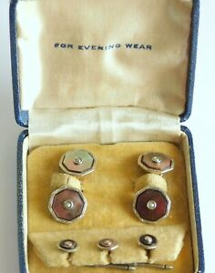 Antique Art Deco Mosain Gold Filled Mother of Pearl Cufflinks & Studs Set w/Box