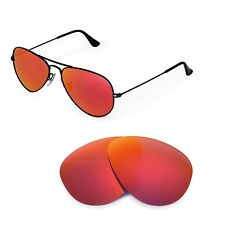 New Walleva Polarized Fire Red Lenses 4 Ray-Ban Aviator RB3044 Small Metal 52mm