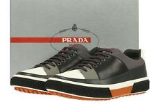 NEW PRADA BLCK GRAY LEATHER LOGO CASUAL LACE-UP SNEAKERS DRIVER SHOES 7.5/US 8.5