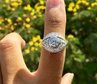Vintage Art Deco 2.20Ct Round Diamond Antique Victorian Ring 925 Sterling Silver