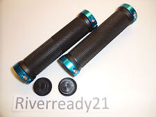 "Black w/ Blue Lock-on Grips for 7/8"" bars Jet-Ski Sea-Doo Bike bmx super-jet"