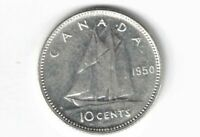 CANADA 1950 TEN CENTS DIME KING GEORGE VI .800 SILVER COIN CANADIAN