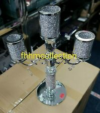 3 Tier CANDLE HOLDER Crushed Diamond Silver Crystals Filled Romany Bling