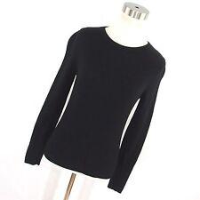 J Crew Sweater S Small 100% Cashmere Black Classic Crew Neck women's Long Slv R1