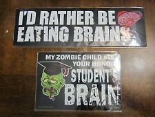 2 Car Magnets - My Zombie Child Ate Your Honor Student's Brain Decal Bumper