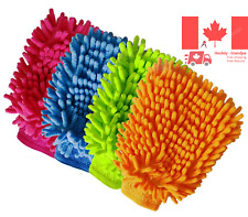 Chenille Microfiber Premium Scratch-Free Car Wash Mitt - Double Sided 4 Pack ...