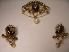 Great Victorian 14K Yellow Gold Onyx Seed Pearl Pendant Earrings Set