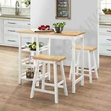 3 Piece Bar Set Table & Stool Setting Dining Kitchen Furniture Storage Shelves