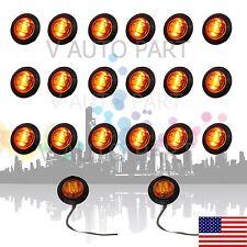 """20X Mini 12V 3/4"""" Round 3 LED Amber Side Light LED Marker Trailer Lamp US Stock"""