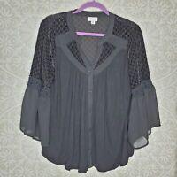 AVENUE Black Bell Sleeve Blouse Top 14/16