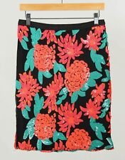 NWT Greylin Black Coral Women's Sequin Floral Pencil Skirt Size S