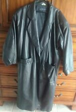 Express womens Long Black soft Leather Lined dress Coat Size Medium