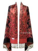 Women Pashmina Double Side Floral Print Scarf Shawl Wraps Stole Warm Tassel New