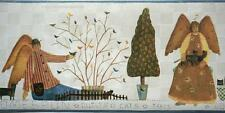 Folk Art Primitive Dolls Homespun Quilts Cats Trees Angels Country Wall Border