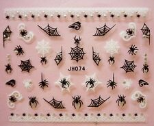 Halloween Nail Art Stickers Transfers Black White Spiders Web Lace Rhinestone 4a