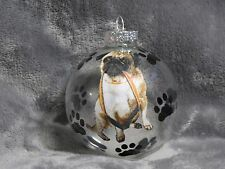 "HAND MADE PUG GLASS 3"" CHRISTMAS ORNAMENT / BALL"